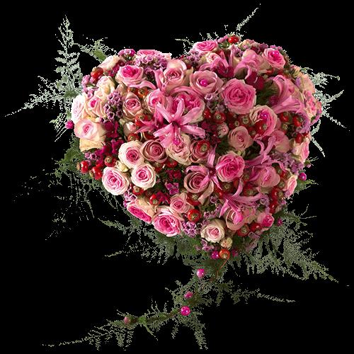 Rouwhart van verschillende roze bloemen