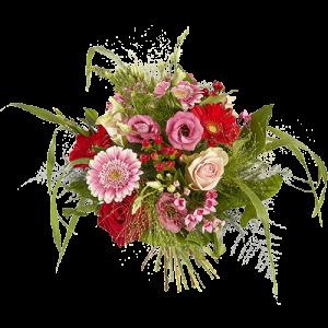 Vrolijk boeket met gerbera's, rozen en lysianthus