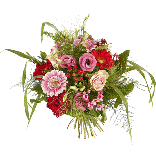 Cheerful bouquet with gerbera, roses and lysianthus