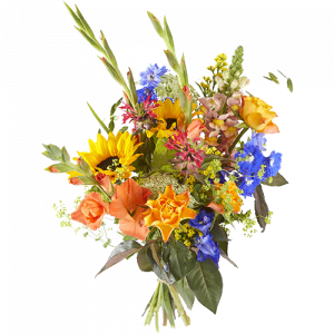 Bouquet with sunflowers, gladiolus and roses, to show the recipient that he or she is a hero!