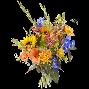 Boeket met zonnebloemen, gladiolen, rozen om te laten zien dat iemand echt een kanjer is!