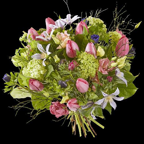 Voorjaarsboeket met roze tulpen en diverse andere bloemen in lichte kleuren