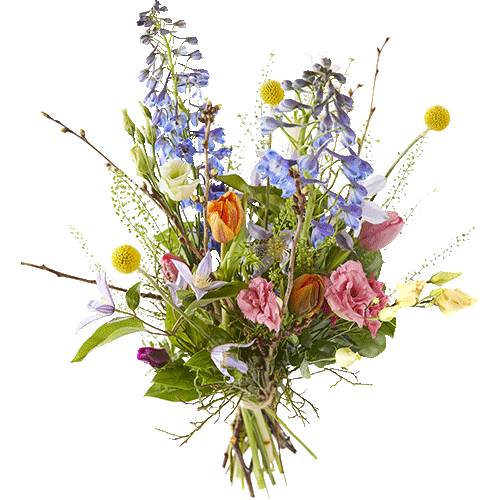 Loose spring bouquet in lively colours