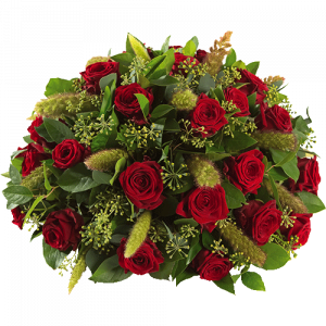 Round funeral arrangement Nostalgia with red flowers