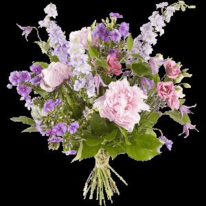 Boeket met pioenrozen en andere bloemen in paarse en roze tinten