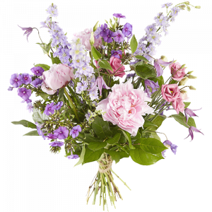 Bouquet with peonies and other flowers in purple and pink shades
