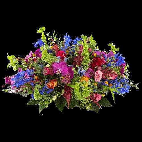 Colorful funeral arrangement