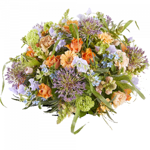 Round funeral arrangement 'Twilight', with flowers in soft natural colours