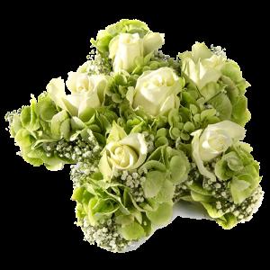 Mooi rouwstuk in de vorm van een ster, gemaakt met witte bloemen.