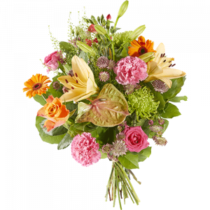 Bouquet with different flowers in light shades to congratulate someone