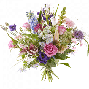 Spring bouquet with purple, pink, white and lila flowers