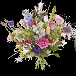 Voorjaarsboeket met paarse, roze, witte en lila bloemen