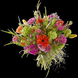 Voorjaarsboeket met seizoensbloemen in vrolijke kleuren