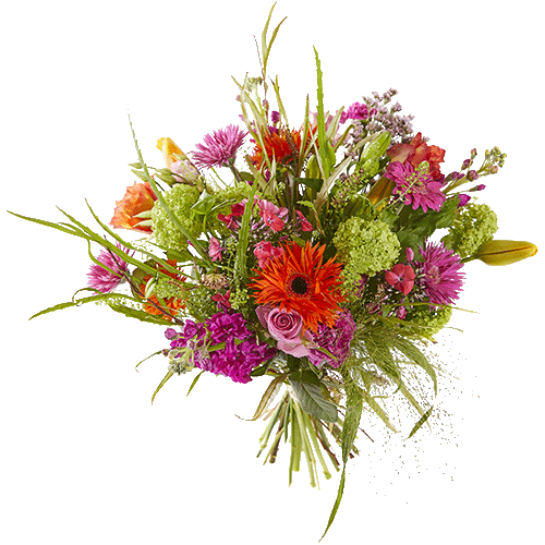 Spring bouquet with seasonal flowers in cheerful colours