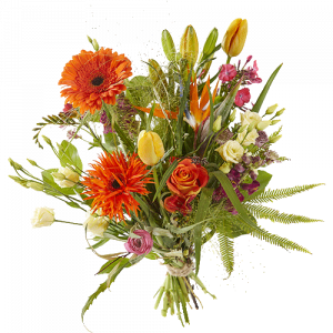Spring bouquet with orange and yellow flowers