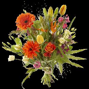 Voorjaarsboeket met oranje en gele bloemen