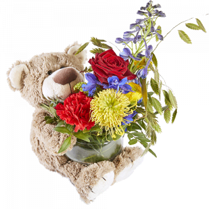 Flower arrangement with a bear, for the funeral of a child