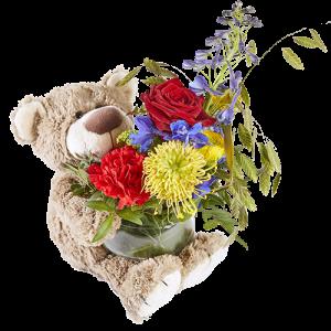 Rouwarrangement voor kinderuitvaart, beer met bloementoefje