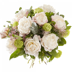 Bouquet with peonies in shades of soft colours