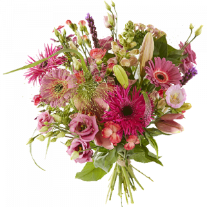 Spring bouquet with pink spring flowers