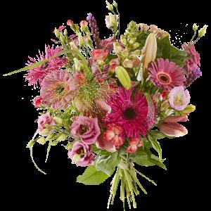 Lenteboeket met roze voorjaarsbloemen