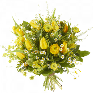 Sunny Easter bouquet with yellow flowers