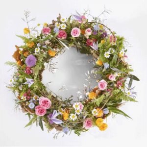 Funeral wreath silent landscape with beautiful seasonal flowers