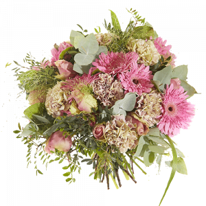 Pretty rich bouquet with pink flowers