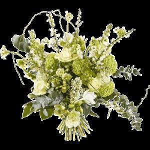 Luxe wit boeket met divers groenmateriaal
