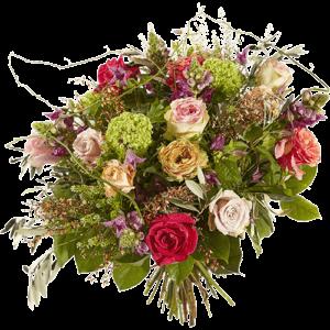 Luxe boeket gevuld met bloemen als rozen, clematis en leeuwenbek