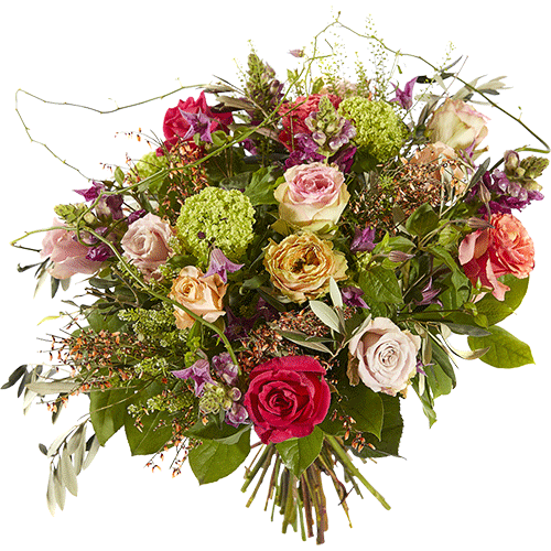Luxurious bouquet with flowers like roses, clematis and lion's mouth