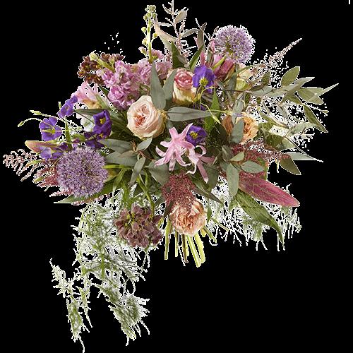 Luxe boeket in roze en paarse tinten