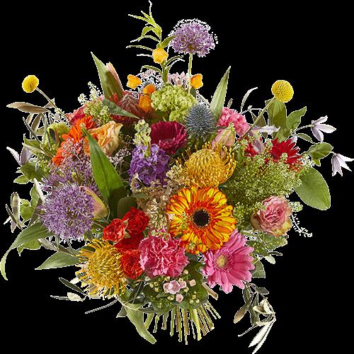 Zeer luxe boeket met bloemen in veel verschillende felle kleuren