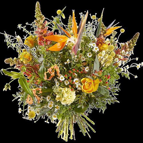 Luxe boeket vurige zon met gele en oranje luxe bloemen