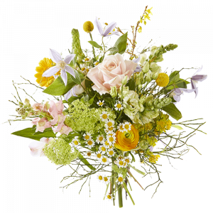 Summer bouquet In The Sunshine with beautiful seasonal flowers in soft pastel colors