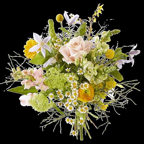 Zomerboeket In-het-zonnetje met bloemen in lichte pastelkleuren