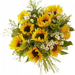 Summer bouquet holiday feeling with beautiful sunflowers