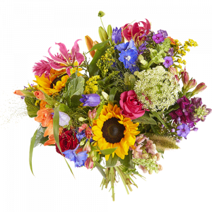 Summer bouquet 'Tempting Summer', with flowers in strong colors