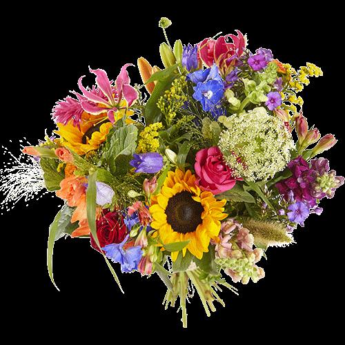 Zomerboeket Verleidelijke-zomer, met bloemen in knallende kleuren