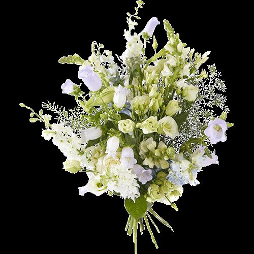 Zomerboeket Volle-maan met witte en lila bloemen