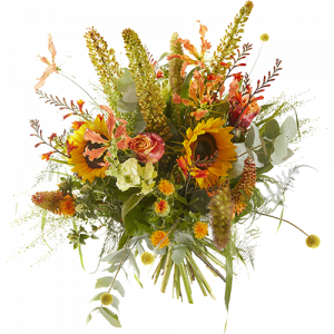 Vibrant summer bouquet with yellow and orange flowers