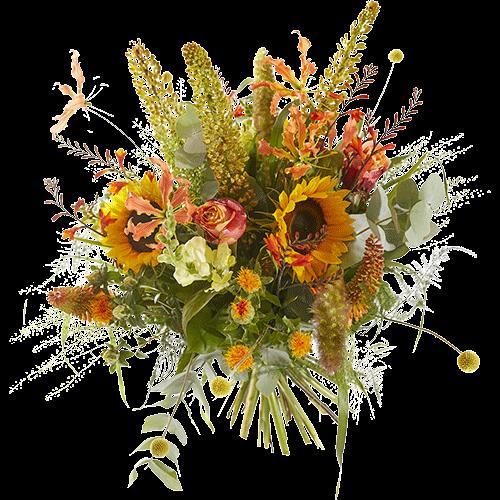 Zomerboeket Vurige-zomer met gele en oranje bloemen