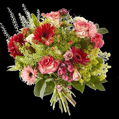 Zomerboeket Zomeravond met roze en rode bloemen