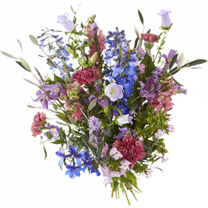 Summer bouquet 'Summer glow' with blue and pink as the main colors
