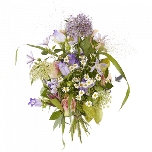 Summer love bouquet with flowers in pastel shades