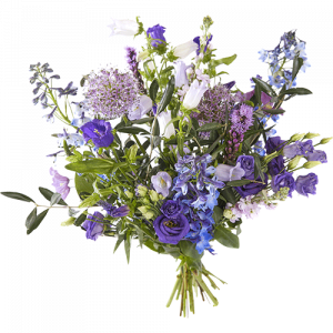 Summer field bouquet with blue, lilac and purple flowers