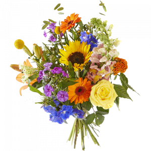 Summer bouquet Sunray with flowers in happy colors