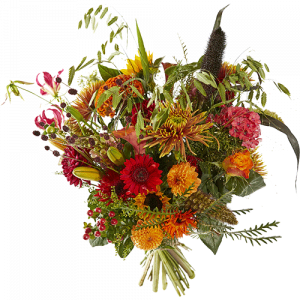 Summer bouquet Sunset with beautiful red and orange flowers