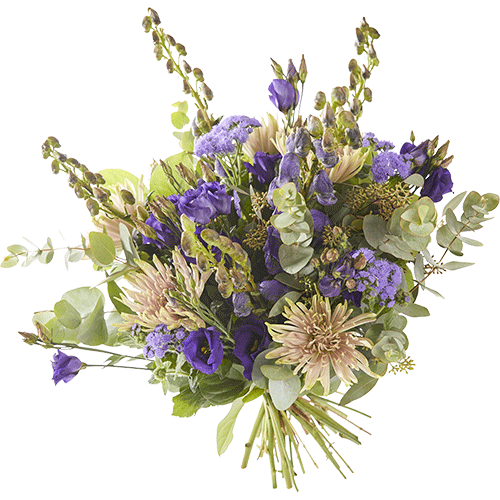 Early fall is a lovely Autumn bouquet made with beautiful purple flowers