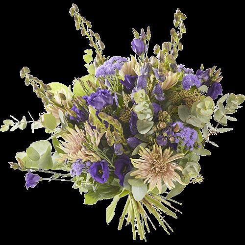 Het losgebonden herfstboeket Nadagen wordt gemaakt met vrolijke paarse bloemen
